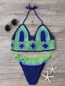 Color Block Banded Crochet Bikini Set - Blue