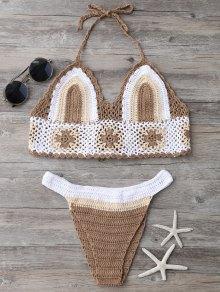 Color Block Banded Crochet Bikini Set