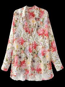 High Low Longline Floral Shirt - Floral L