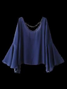 Flare Sleeve Chiffon Blouse - Deep Blue