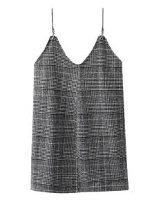 Checked Tweed Cami Dress - White And Black M