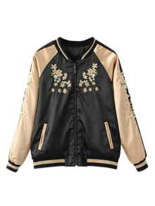 Reversible Embroidered Bomber Jacket - Black M