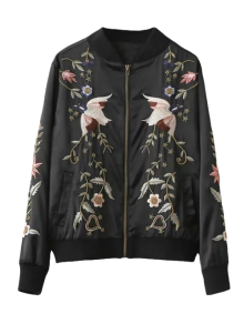 Beaded Embroidered Bomber Jacket