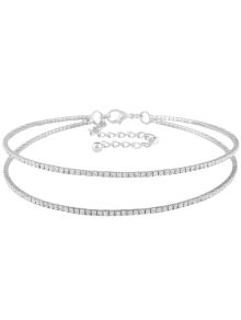Twins Circle Rhinestone Choker Necklace