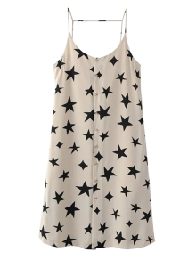 Button Up Star Print Slip Dress - Off-white S