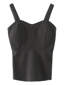 Wide Strap Padded Tank Top - Black S