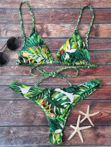 Tropical Print Plunge Bikini - Green M