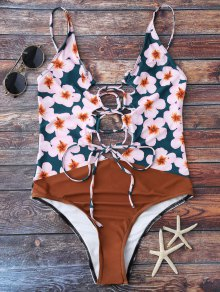 Floral Lace Up Cami High Leg Swimsuit