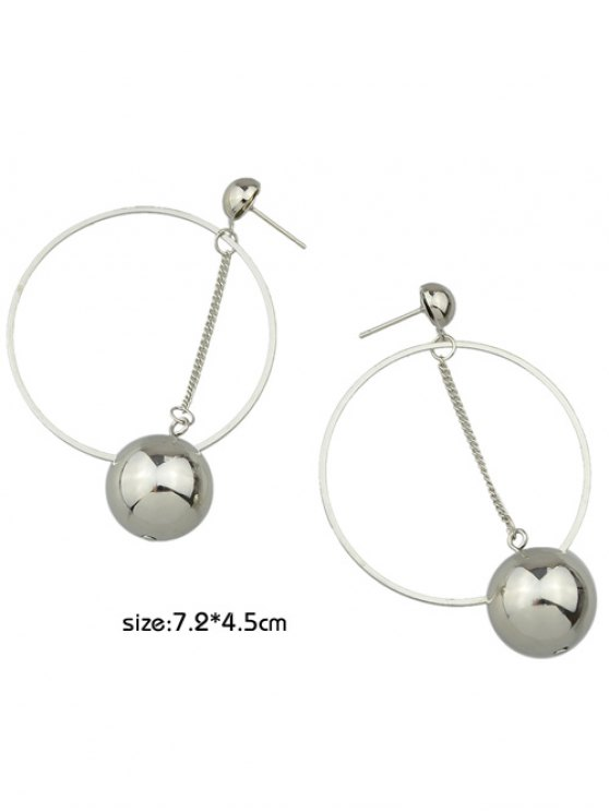 Alloy Circle Ball Earrings - SILVER  Mobile