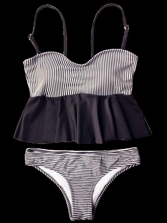Cami Striped Peplum Tankini - WHITE AND BLACK M Mobile