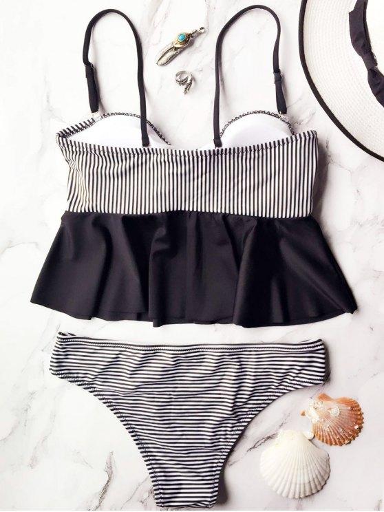 Cami Striped Peplum Tankini - WHITE AND BLACK S Mobile