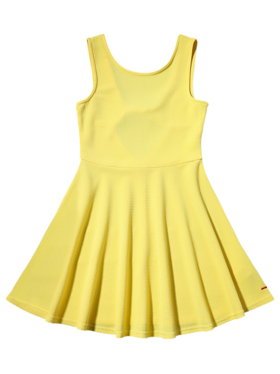 Cut Out Fit and Flare Tank Dress - YELLOW S Mobile