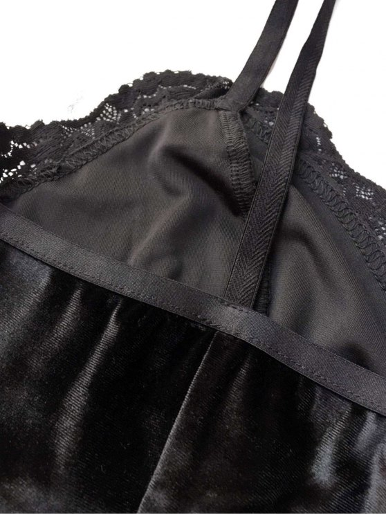 Lace Panel Velvet Bodysuit - BLACK M Mobile
