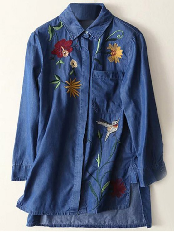 unique Floral Embroidered High Low Denim Shirt - BLUE S