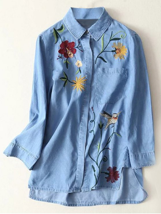 affordable Floral Embroidered High Low Denim Shirt - LIGHT BLUE M