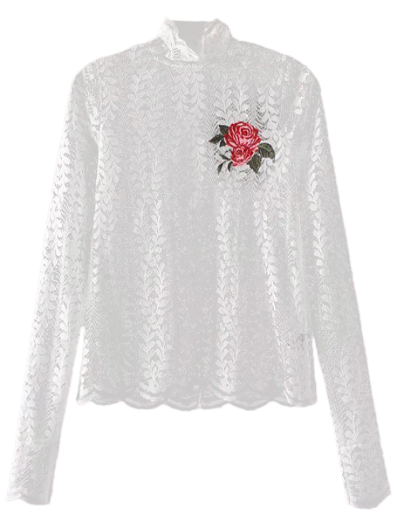 ladies Floral Embroidered Illusion Lace Top - WHITE L