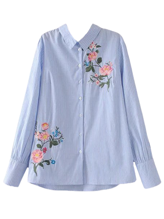 Cutout Floral Embroidered Striped Blouse - STRIPE S Mobile