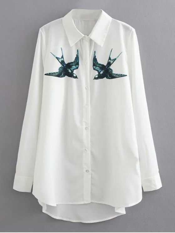 outfit Swallow Print Casual Shirt - WHITE L
