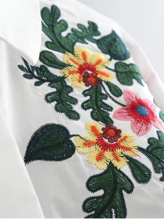 Floral Embroidered Cotton Collared Shirt - WHITE XL Mobile