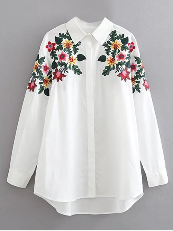 Floral embroidered cotton collared shirt white blouses l