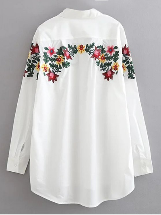 Floral Embroidered Cotton Collared Shirt - WHITE M Mobile
