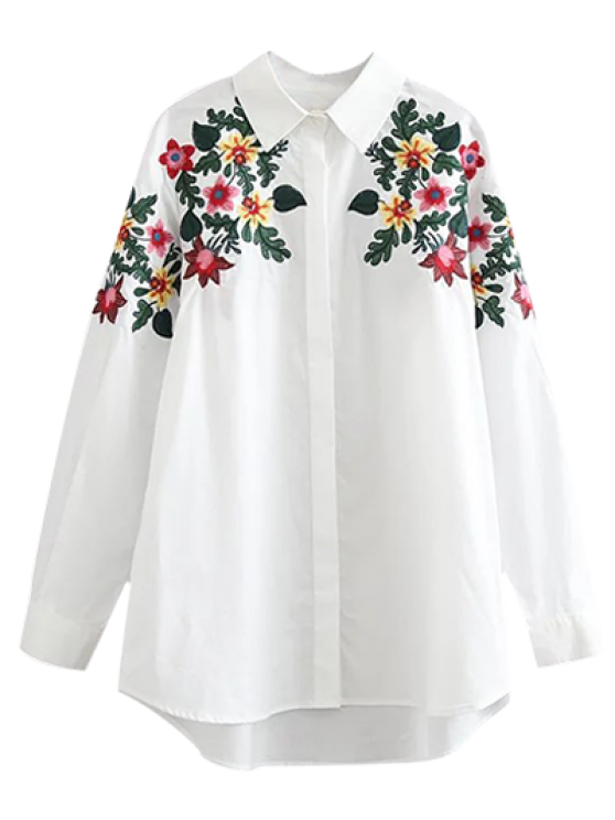 Floral Embroidered Cotton Shirt - WHITE S Mobile