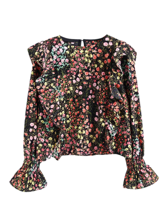unique Tiny Floral Print Frilly Blouse - FLORAL S
