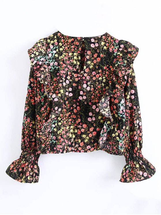 Tiny Floral Print Frilly Blouse - FLORAL S Mobile