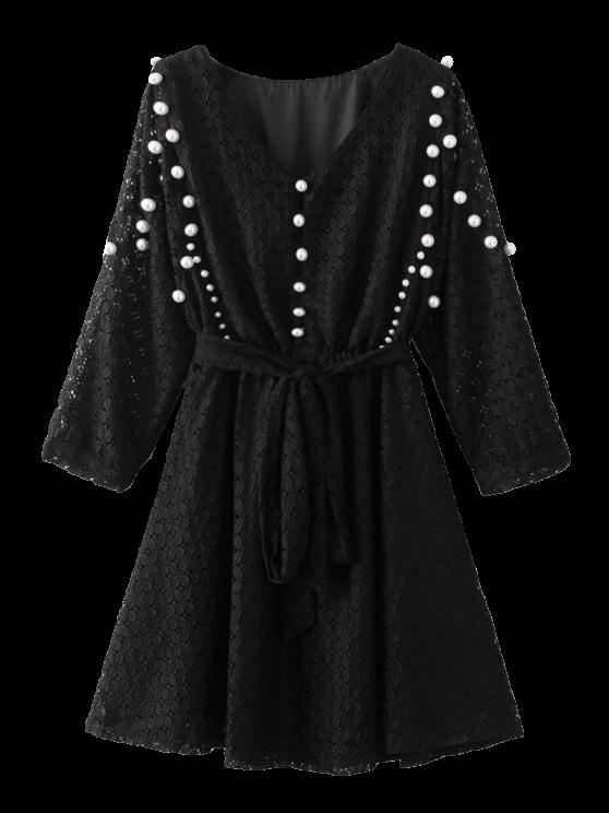 hot Mini Beaded Lace Dress - BLACK S