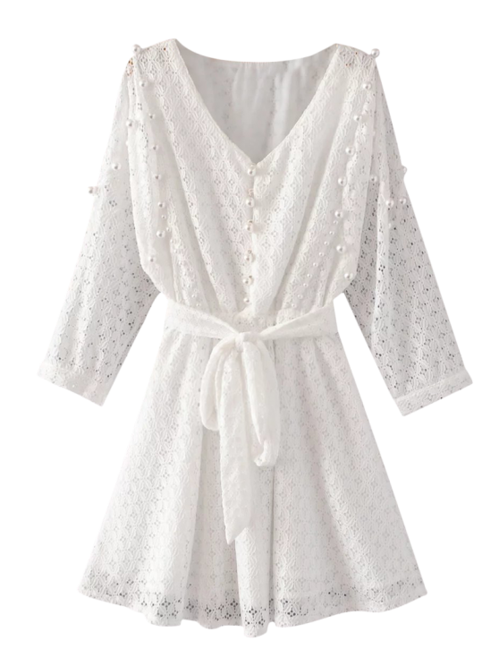 Mini Beaded Lace Dress - WHITE L Mobile
