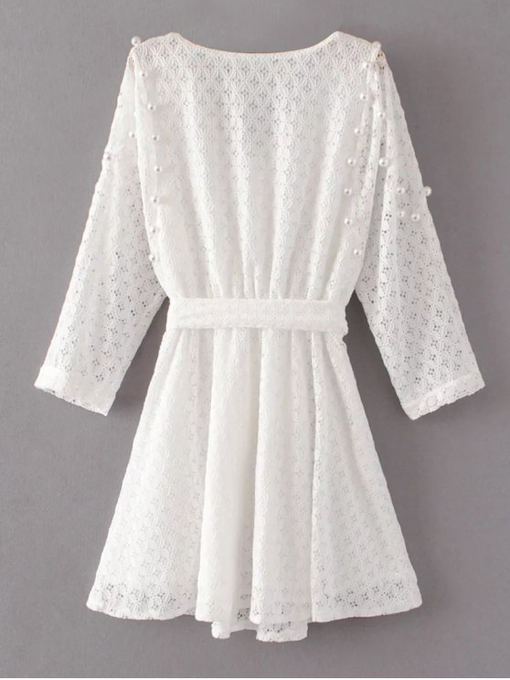 Mini Beaded Lace Dress - WHITE M Mobile