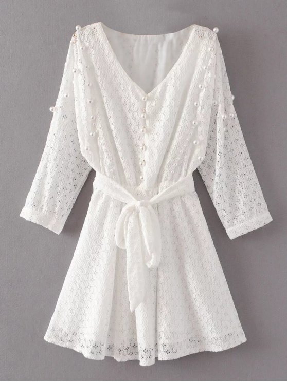 shop Mini Beaded Lace Dress - WHITE S
