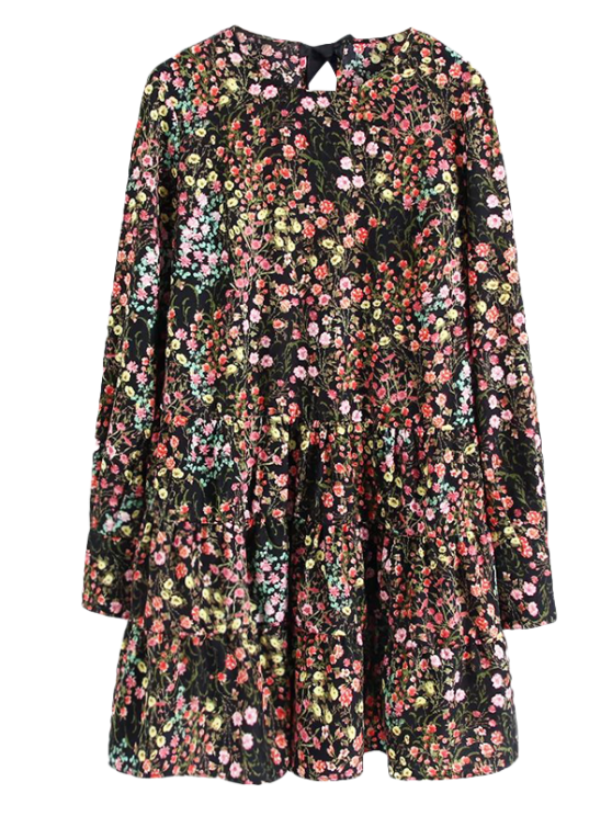 Long Sleeves Tiny Floral Print Romper - BLACK S Mobile