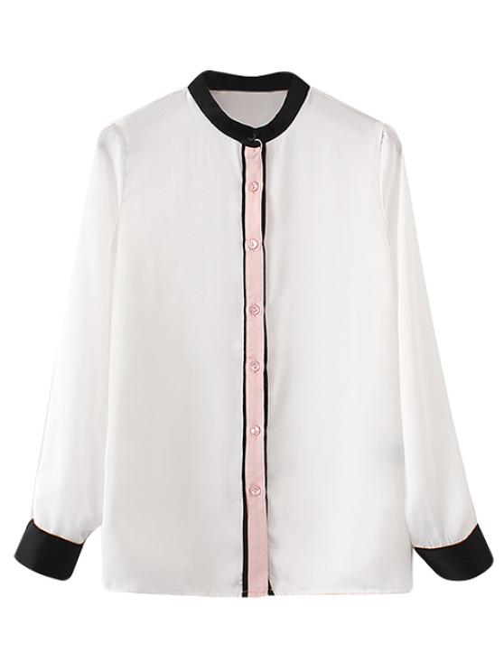 Collar del mandarín bloque del color de la camisa - Blanco S