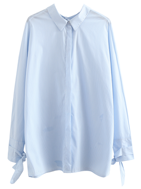 affordable Tie Back Striped Boyfriend Shirt - LIGHT BLUE L