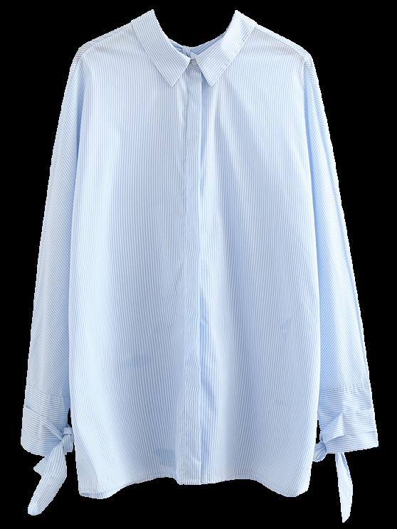 womens Tie Back Striped Boyfriend Shirt - LIGHT BLUE S