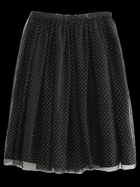 ladies Golden Thread Tulle Layered Skirt - BLACK S