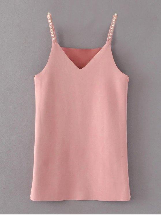 trendy Beaded Faux Suede Slip Dress - PINK S