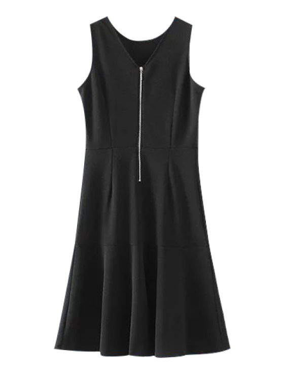 unique Peplum Hem Sleeveless Sheath Dress - BLACK L