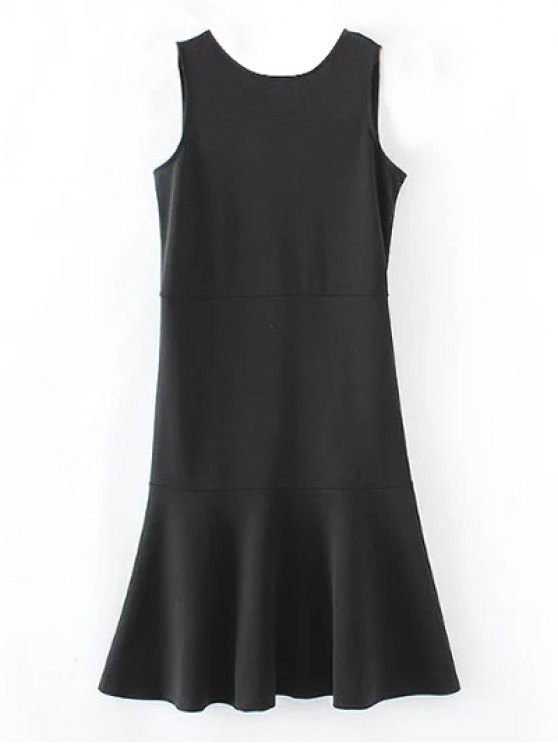 Peplum Hem Sleeveless Sheath Dress - BLACK L Mobile