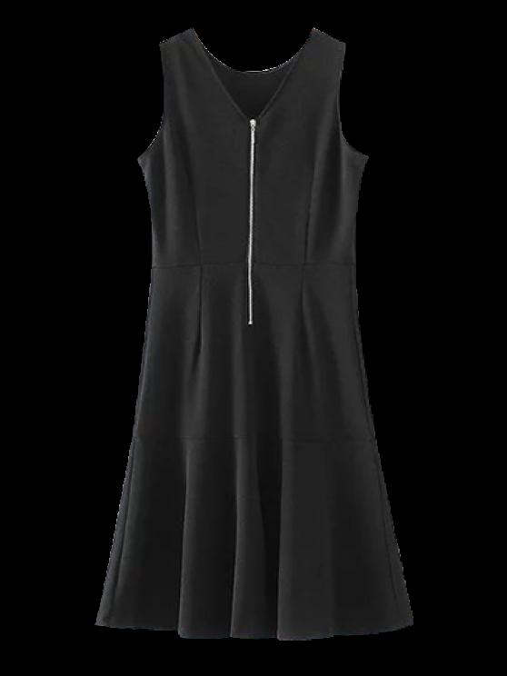 sale Peplum Hem Sleeveless Sheath Dress - BLACK M