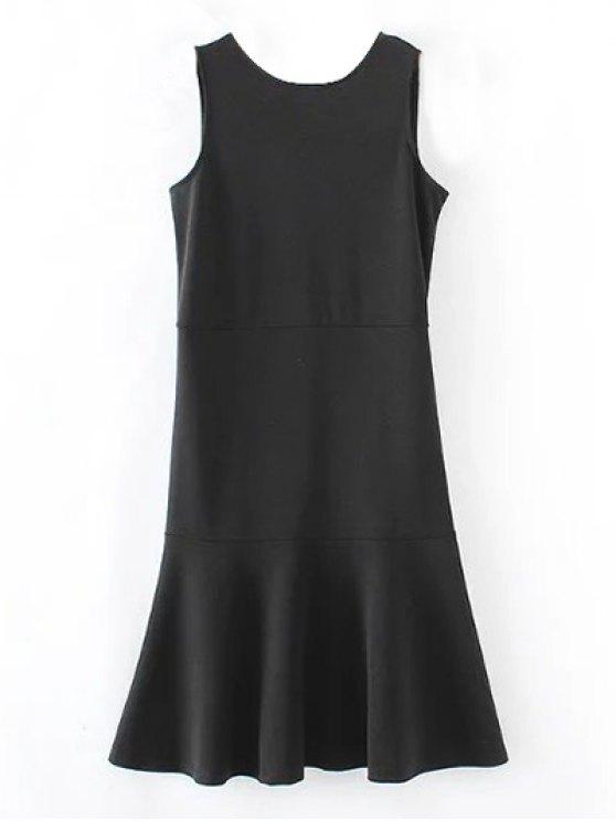Peplum Hem Sleeveless Sheath Dress - BLACK S Mobile