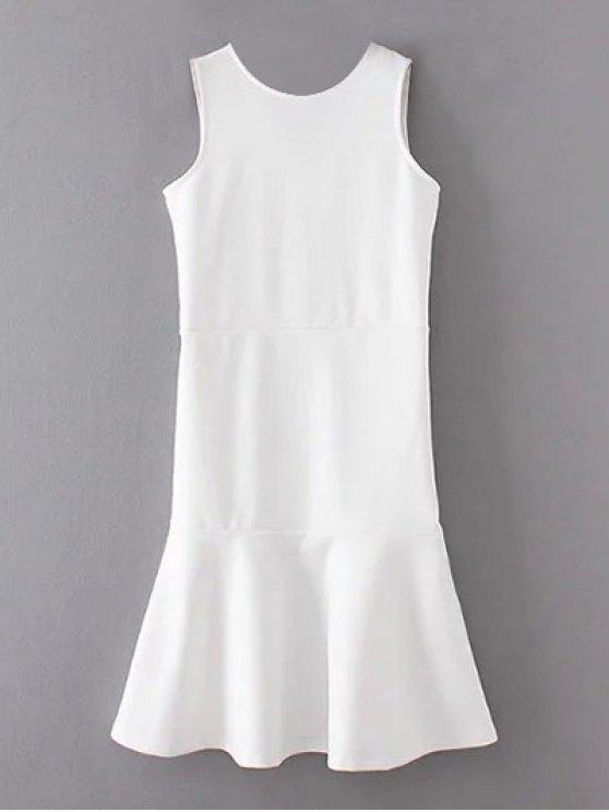 Peplum Hem Sleeveless Sheath Dress - WHITE M Mobile
