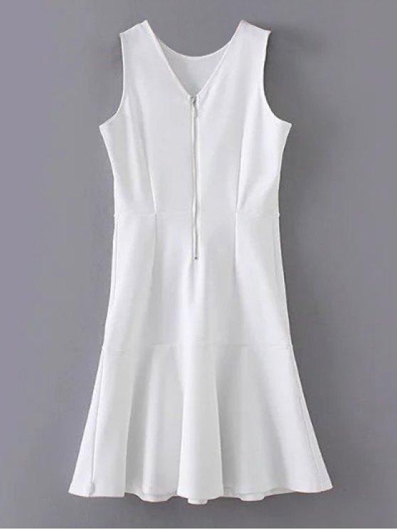 women Peplum Hem Sleeveless Sheath Dress - WHITE S