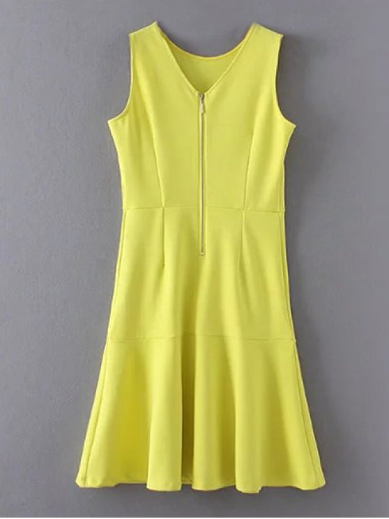 women's Peplum Hem Sleeveless Sheath Dress - YELLOW L