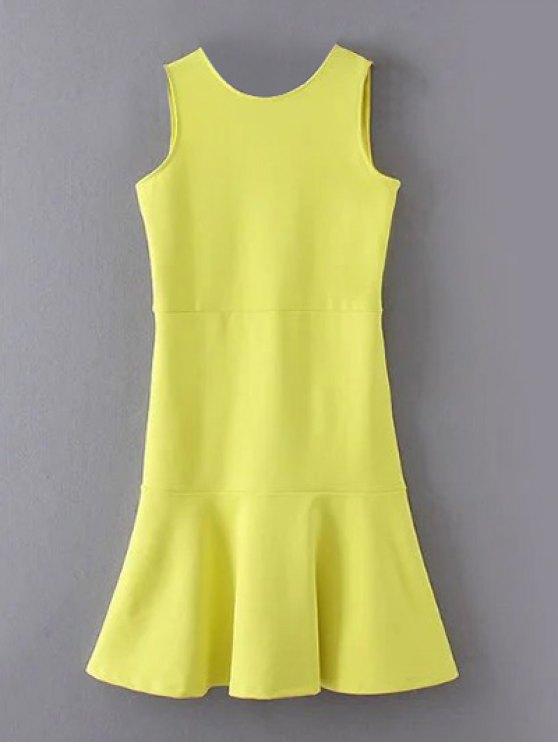 Peplum Hem Sleeveless Sheath Dress - YELLOW S Mobile