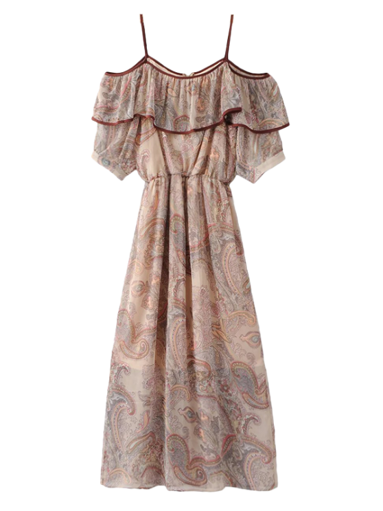 new Frilly Cold Shoulder Chiffon Dress - BEIGE S