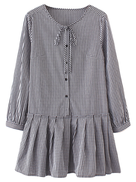 Larga volante vestido de la manga de la tela escocesa - Comprobado S