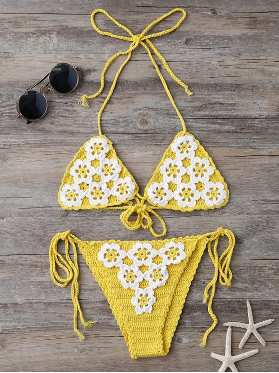 trendy High Cut Tie Side Crochet Bikini Set - YELLOW ONE SIZE