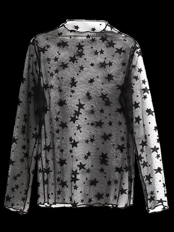 Blouse transparente à motifs d'étoiles - Noir TAILLE MOYENNE